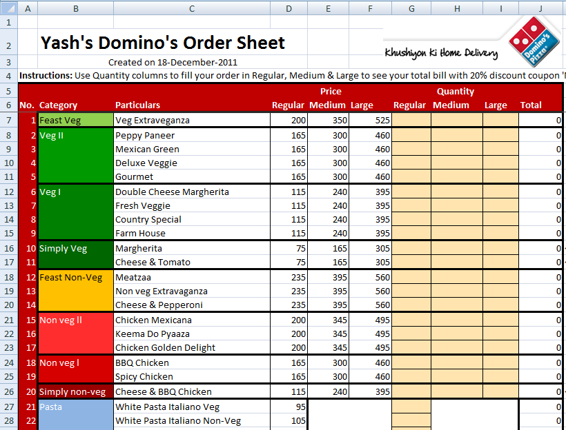 Dominos 20% Discount Order sheet